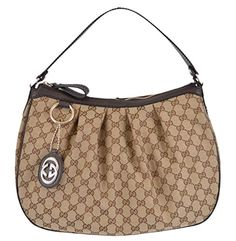 Gucci 364843 Womens Brown Canvas GG Charm Guccissima Sukey Purse >>> For more information, visit image link.