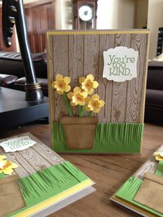 Daffodils of Spring - Petite Petal Punch, Hardwood background stamp & Fringe Scissors - Too Kind stamp set from the Annual Catalog