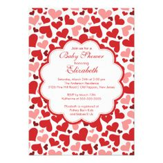 valentines baby shower invitation | shower off right with our pretty love hearts baby shower invitations ...