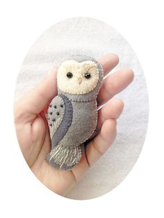 Handmade Felt Owl Brooch, Woodland Animal Felt Jewelry, Grey Owl Brooch