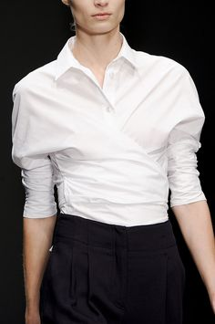 Classic white shirt turned wrap top