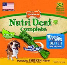 Nylabone Nutri Dent Dog Treat Dental Bones  Medium 32 ct  Chicken * Read more reviews of the product by visiting the link on the image.
