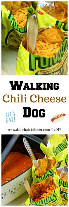 You will be the star at your next tailgate with this easy to makeWalking Chili Cheese Dog recipe. All the great Cheese Coney flavor, but no bun needed! #ad @myfamilydollar www.dadwhats4dinner.com #tailgatefood