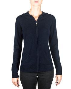 Damen Kaschmir Strickjacke Cardigan V-Ausschnitt marin blau Zip Hoodie, Sweater Hoodie, Cute Woman, Blue Sweaters, Trends, Hooded Jacket, Sportswear, Hoodies, Tops