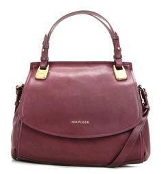 wardow.com - Tasche von Tommy Hilfiger, Abbie Shopper Leder violett 36 cm