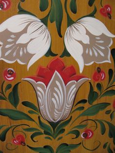 pattern for Bauernmalerei Farmer Painting, Tole Painting, Fabric Painting, Painting Tips, Watercolor Painting, Folk Art Flowers, Flower Art, Flowers Wallpaper, Rosemaling Pattern