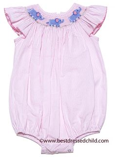 Petit Bebe by Anavini Baby / Toddler Girls Pink Seersucker Smocked Elephants Bubble