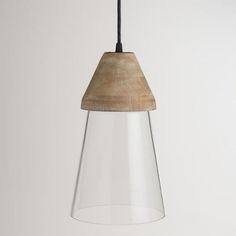 One of my favorite discoveries at WorldMarket.com: Wood Top Glass Hanging Pendant Lamp on sale for $40