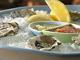 Raw Oysters on the Half Shell with Cucumber Mignonette Recipe : Tyler Florence : Food Network Florence Food, Tyler Florence, Shellfish Recipes, Seafood Recipes, Mignonette Recipe, Raw Oysters, Shucking Oysters, Oyster Recipes, Kitchens