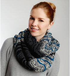 Infinity Waves Scarf | Let the beautiful colors of this knit infinity scarf transport you to another time and place.