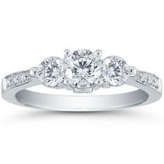 Three-Stone Round Brilliant Diamond Ring (1.00 ctw) 14kt White Gold. I just love this so much. I don't even know why.