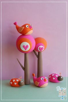 Cute bird toppers trees ladybugs orange pink