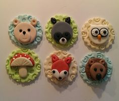 Woodland Animals Fondant Cupcake, Cake, Cookie Toppers. Set includes 12 (one dozen) 2 of each pattern