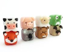 Cute cubed animal miniature Polymer Clay Figure, Cute cubed animal charm,  cubed animal