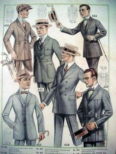 1920's Mens Fashion- Throughout the decade, men wore short suit jackets, the old long jackets being used merely for formal occasions. In the early 1920s, men's fashion was characterized by extremely high-waisted jackets, often worn with belts. Lapels on suit jackets were not very wide as they tended to be buttoned up high. This style of jacket seems to have been greatly influenced by the uniforms worn by the military during the First World