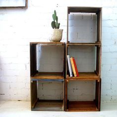 Reclaimed timber storage box, cube coffee table, bedside table, stackable bookshelf.