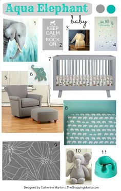 Aqua Elephant Nursery Design Board with Babyletto Hudson 3-in-1 Convertible Crib