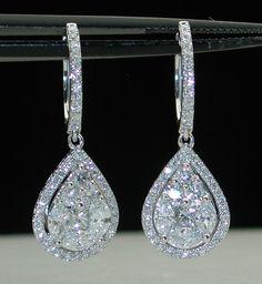 $9.99~WEDDING~18KT~4.00CTW E/VVS DIAMOND DROP DANGLE EARRINGS~CERTIFIED $19,000 #DropDangle