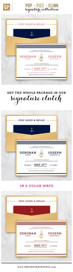Inspired by an anchor monogram, this modern invitation suite updates the traditional nautical themed suites. Perfect for a coastal wedding or the couple that loves water. All of our clutch invitations include the invite, RSVP card with printed envelope and a details card that can hold the reception info, additional event details and/or accommodations info.