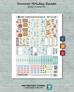Free Printable Summer Holiday Escape Planner Stickers from Sepiida Prints
