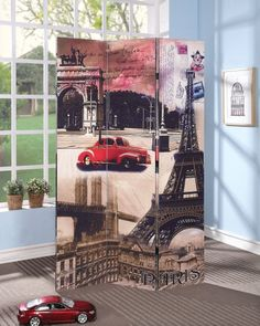 Trudy Fully Assembled 3 Panel Two Side Scenery Wooden Screen