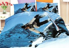 Snowboardista v horách ložní povlečení modré barvy