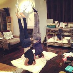 Lucy Hale Hosts Headstand Contest : Seems the Pretty Little Liar prefers an upside down view at the end of a long day. #SelfMagazine