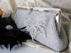 Rich Silver Satin Fabric Wedding Bag Clutch by weddingswithflair