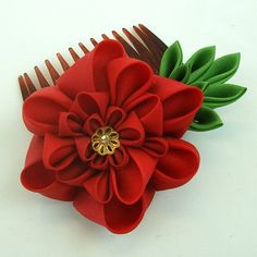 Beautiful red flower Kanzashi Comb.  More like these available for sale through the artist's etsy store.