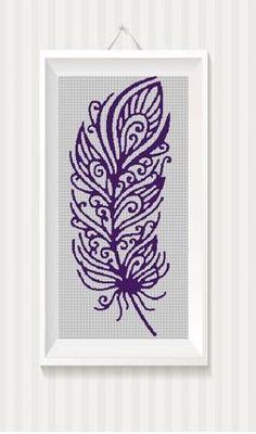 Tribal+plume+silhouette+cross+stitch+pattern+in+pdf