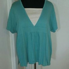 Women's 3x top Fun bright turquoise shirt with ribbed texture. Jason maxwell brand. 57% cotton 42% polyester 1% spandex Tops
