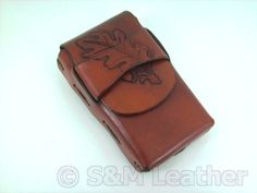 Hand made Leather cigarette case Hand tooled Acorn by smleather, $25.00