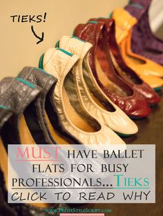 Petite fashion & style | Tieks ballet flats review | My go-to work shoe; ballet flats for busy petite professionals? Tieks by Gavrieli ballet flats are the PERFECT ones! Perfect style, fit, comfort, quality, travel, foldable ballet flats. Multiple colors—patent, classic fits, obsidian black, ruby red patent, ivory nude patent, lilac purple, coral orange patent. Click to read more about the MUST have ballet flats for busy professionals!   via @PStyleScript