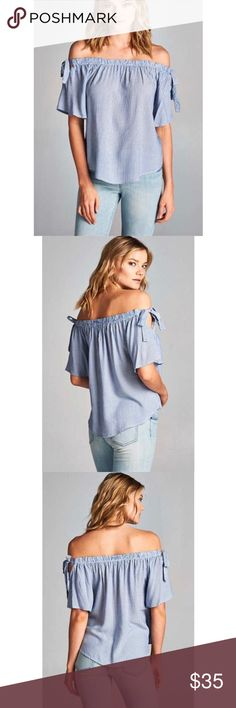 Coming soon! Off the shoulder pinstripe top Off the shoulder denim blue pinstripe top. Rayon. Made in America. Multiple sizes available! 💙💙 Tops Blouses