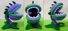 Crochet Chomper amigurumi Plants vs zombies by DarmianiCrochet, giant venus flytrap -- little shop of horrors - No pattern Crochet Amigurumi, Crochet Dolls, Crochet Yarn, Crochet Crafts, Crochet Projects, Zombie Gifts, Zombie Dolls, Little Shop Of Horrors, Plants Vs Zombies