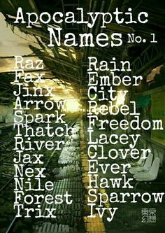 A list of apocalyptic character names from Dystopia a guide to writing the perfectly imperfect dystopia novel. Pretty Names, Cool Baby Names, Cute Names, Unique Names, Writing Promps, Book Writing Tips, Writing Characters, Writing Words, Name Inspiration