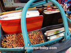 planner tote bag with art journal supplies