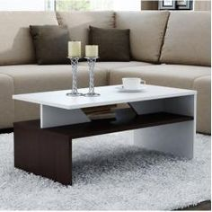 Hurley Coffee Table Orren Ellis Colour: Dark brown and white - Products - Design Rattan Furniture Garden Coffee Table, Simple Coffee Table, Home Coffee Tables, Coffee Table Wayfair, Coffe Table, Coffee Table With Storage, Modern Coffee Tables, Centre Table Living Room, Living Room Tv