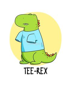 'Tee Rex Pun' Sticker by punnybone Cute Puns, Funny Puns, Stupid Funny, Funny Stuff, Funny Quotes, Dinosaur Puns, Pun Gifts, Animal Puns, Kid Memes