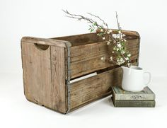Large Rustic Wood and Metal Crate with Handles / by tawneyvintage, $54.00