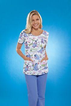 Cherokee Tooniforms Print Nursing Scrub Tops - Amusing Eeyore!