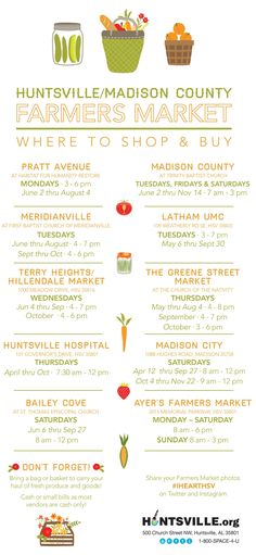 A Visitor's Guide to Huntsville/Madison County Farmers Markets via iHeartHsv.com