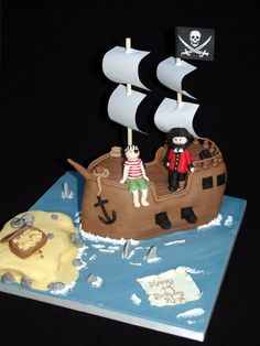 Pirate ship cake with cannons