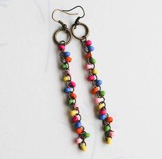 Let's Dance Colorful Long Dangle Earrings
