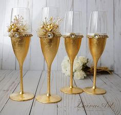 Gold Wedding Champagne Flutes Wedding Champagne Glasses