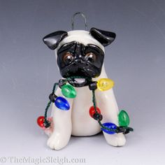 Pug Ornament with Christmas Lights Original Sculpture