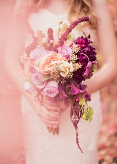 peach and plum fall wedding bouquet by Urban Chateau Floral - photo by Alixann Loosle