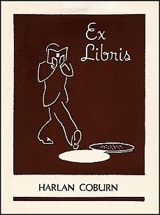 """the attached universal bookplate was one of a series of 12 sold in the 1950s in the """"Young Moderns"""" series. The designer was Benton Ferguson, and company founder Ernest Morgan was moved to hire him for the series because of his work for Saturday Review."""
