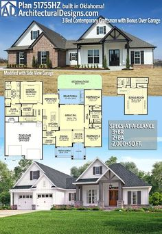 Architectural Designs Craftsman House Plan client-built in Mississippi by our friends at Pintail Construction! Basement House Plans, Craftsman House Plans, New House Plans, Dream House Plans, House Floor Plans, My Dream Home, Craftsman Homes, The Plan, How To Plan