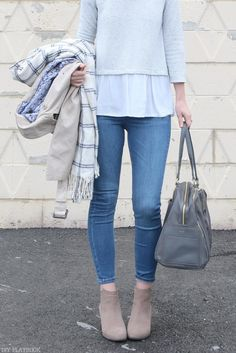 Love this look for spring. Jeans, booties, neutral top, and a trench coat to keep the rain away.